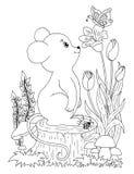 Vector o menino do zentangl da ilustração nas flores em seu coelho do regaço Desenho da garatuja Anti esforço do livro para color ilustração royalty free