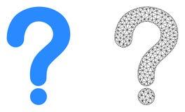 Vector 2.o Mesh Question Mark e icono plano stock de ilustración