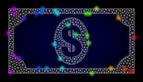 Vector 2.o Mesh Usd Banknote con los puntos coloreados espectro del resplandor ilustración del vector