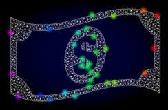 Vector 2.o Mesh Waving Dollar Banknote con los puntos que brillan intensamente coloreados arco iris stock de ilustración