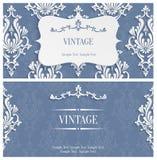 Vector o molde cinzento do convite do vintage 3d com teste padrão floral do damasco Imagens de Stock Royalty Free
