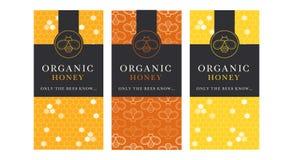Vector o molde do cartão com os emblemas da abelha do mel e teste padrão sem emenda ilustração do vetor