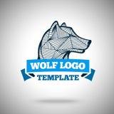 Vector o molde do logotipo do lobo para as equipes de esporte, o negócio etc. ilustração stock