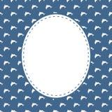 Vector o molde dos cartão no estilo marinho com golfinhos minimalistic ilustração royalty free