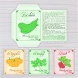 Vector o molde imprimível do pacote da semente com imagem Fotos de Stock Royalty Free