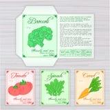 Vector o molde imprimível do pacote da semente com imagem, nome e descrição dos vegetais no contexto de madeira Contém brócolis,  Fotos de Stock