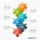 Vector o molde infographic de 6 opções com seções do enigma Fotografia de Stock Royalty Free