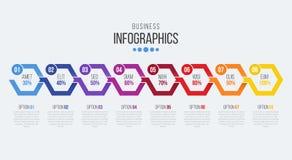 Vector o molde infographic do espaço temporal de 8 etapas com setas Fotos de Stock Royalty Free