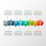 Vector o molde infographic do espaço temporal do estilo do enigma de 8 etapas Fotos de Stock