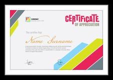 Vector o molde para o certificado, diploma colorido limpo Fotos de Stock Royalty Free