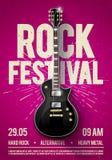 Vector o molde violeta do projeto do inseto do partido do concerto do festival da rocha da ilustração ou do cartaz do vintage com Foto de Stock