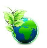 Vector o mundo azul natural com folhas verdes e gotas da água ilustração royalty free