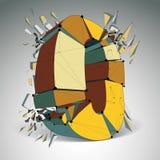 Vector o número dimensional do wireframe zero, dígito demulido ilustração royalty free