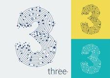 Vector o número três em um fundo brilhante e colorido A imagem ao estilo do techno, criado entrelaçando-se linhas e pontos ilustração royalty free