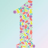 Vector o número um fez dos brinquedos e das flores Fotos de Stock
