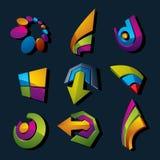 Vector o negócio dimensional e o collec incorporado dos símbolos gráficos ilustração do vetor