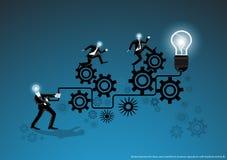 Vector o negócio para ideias e a faculdade criadora nas operações comerciais com a folga e o projeto liso do bulbo ilustração royalty free