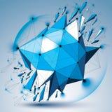 Vector o objeto azul do wireframe dimensional com círculos do esplendor ilustração do vetor