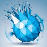 Vector o objeto azul do wireframe dimensional com círculos do esplendor, ilustração royalty free
