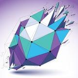 Vector o objeto colorido dimensional do wireframe, baixo político demulido ilustração do vetor