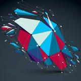 Vector o objeto colorido dimensional do wireframe, baixo político demulido ilustração royalty free