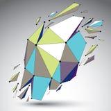 Vector o objeto colorido dimensional do wireframe, forma demulida w ilustração stock