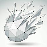 Vector o objeto dimensional do wireframe, forma demulida esférica ilustração royalty free