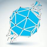 Vector o objeto dimensional do wireframe, s demulido esférico azul ilustração stock