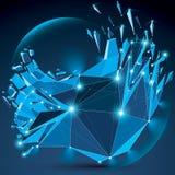 Vector o objeto efervescente azul do wireframe dimensional com esplendor ilustração stock