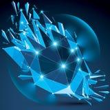 Vector o objeto efervescente azul do wireframe dimensional com esplendor ilustração do vetor
