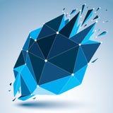 Vector o objeto luminescente do wireframe dimensional com connec azul ilustração do vetor