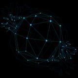 Vector o objeto luminescente do wireframe dimensional com connec azul ilustração royalty free