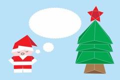 Vector o origâmi na forma de Santa Claus, da árvore de Natal e do Fox com quadro do callout Fotografia de Stock Royalty Free