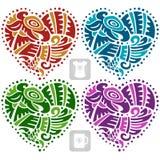 Vector o ornamento étnico na forma do coração Indianos americanos Fotografia de Stock Royalty Free