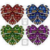 Vector o ornamento étnico na forma do coração Indianos americanos Fotos de Stock Royalty Free