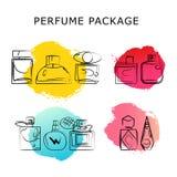 Vector o pacote artístico do perfume isolado no fundo branco Fotos de Stock