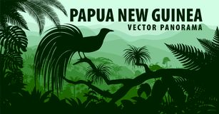 Vector o panorama de Papuásia-Nova Guiné com pouco pássaro de paraíso Fotografia de Stock Royalty Free
