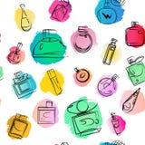 Vector o papel de parede sem emenda do perfume artístico no fundo branco Imagens de Stock Royalty Free
