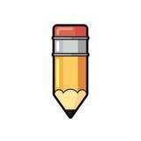 Vector o plano de madeira e cor-de-rosa amarelo do lápis do ícone do eliminador no fundo branco Foto de Stock Royalty Free