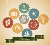 Vector o poster do verão feito dos ícones Imagem de Stock