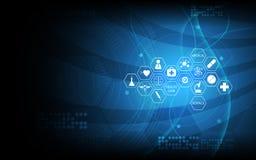 Vector o projeto ajustado abstrato do fundo e de conceito da inovação da tecnologia do ícone médico ilustração stock