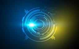 Vector o projeto de conceito circular abstrato da tecnologia do molde do quadro do fundo olá! Imagem de Stock Royalty Free