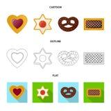 Vector o projeto do biscoito e coza o ícone Coleção do ícone do vetor do biscoito e do chocolate para o estoque ilustração stock
