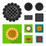 Vector o projeto do biscoito e coza o ?cone Grupo de s?mbolo de a??es do biscoito e do chocolate para a Web ilustração stock