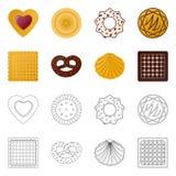 Vector o projeto do biscoito e coza o sinal Cole??o do s?mbolo de a??es do biscoito e do chocolate para a Web ilustração royalty free