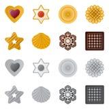 Vector o projeto do biscoito e coza o sinal Grupo de símbolo de ações do biscoito e do chocolate para a Web ilustração do vetor