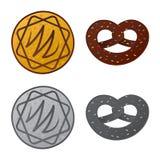 Vector o projeto do biscoito e coza o sinal Grupo de símbolo de ações do biscoito e do chocolate para a Web ilustração royalty free