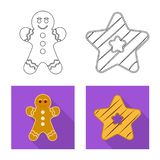 Vector o projeto do biscoito e coza o sinal Grupo de s?mbolo de a??es do biscoito e do chocolate para a Web ilustração stock
