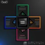 Vector o projeto infographic com quadrados coloridos no fundo preto Imagens de Stock