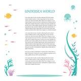Vector o projeto liso dos elementos o mundo subaquático Ilustração da flora tropical profunda e da fauna Lugar para o texto ilustração stock
